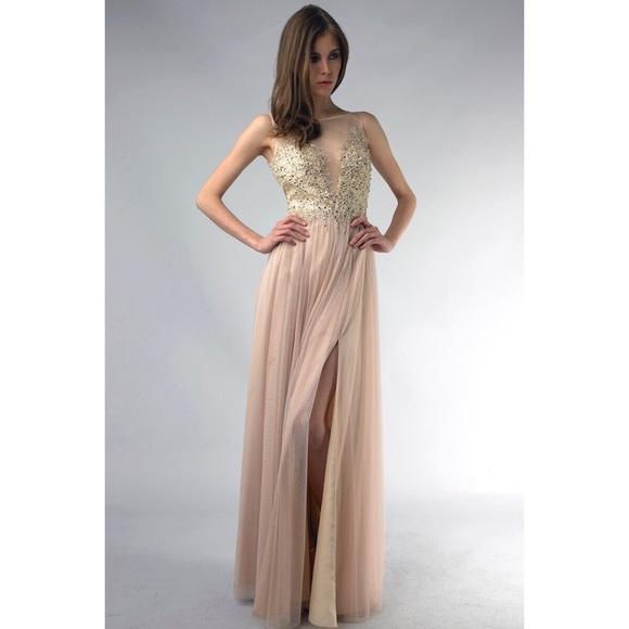 basix black label Dresses | Embellished Illusion Ball Gown | Poshmark